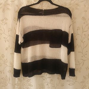 Roommates Womens Size L Striped Black Ivory Blouse